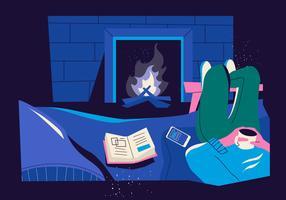 Hipster beber café com desfrutando de fogueira na ilustração em vetor de sala de estar
