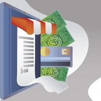 compras online computador pagamento dinheiro cartão bancário vetor