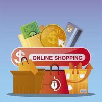 compras online mercado móvel pedido de pagamento empresarial comércio eletrônico vetor