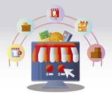pedido de compra online clicando no botão comércio eletrônico vetor