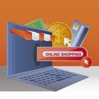 compras on-line e-commerce pagamento móvel dinheiro cartão bancário vetor