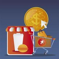 carrinho de compras online e comércio eletrônico de pedidos de food service vetor