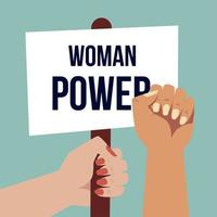 mão para o dia das mulheres com cartaz e braço levantado em estilo cartoon vetor