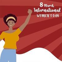 Dia da Mulher 8 de março - celebração internacional mulher feliz mão levantada em estilo cartoon vetor