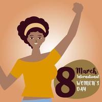 dia das mulheres mulher afro-americana mão levantada em estilo cartoon vetor