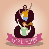 meninas felizes do dia das mulheres em celebração do poder das 8 meninas vetor