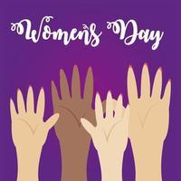 estilo de desenho animado diversificado de mulheres com braços levantados para o dia da mulher vetor
