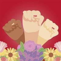 dia da mulher feminino diversificado com flores em estilo cartoon vetor