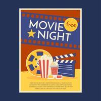 Vetor de modelo de cartaz de noite de cinema