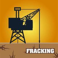 torre de fracking com cabine e perfuração de petróleo subterrânea vetor