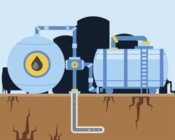 bomba de fracking de máquinas da indústria de petróleo e exploração de dutos vetor