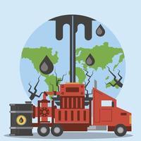 fracking indústria de petróleo, exploração, produção, perfuração, mundo vetor