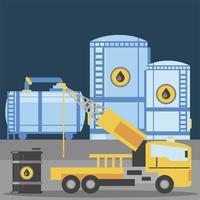 fracking truck máquina de perfuração autopropelida e barril de petróleo vetor