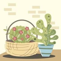 jardim doméstico planta flores folhagem em uma cesta de vime vetor