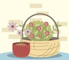 flores do jardim doméstico em cesta de vime e decoração de vasos vetor