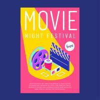 Modelo de cartaz de noite de cinema vetor isométrico