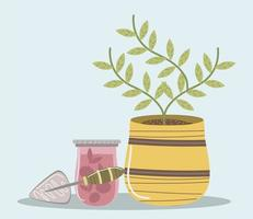 planta de jardim doméstico em suco de maconha e ferramenta de pá vetor