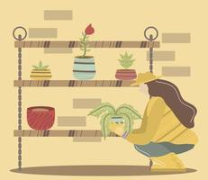 jardineira com prateleiras de plantas, ferramentas de jardinagem flores vetor