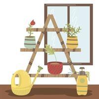 prateleira de jardim doméstico com regador e pulverizador de plantas em vasos vetor