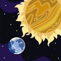 espaço terra planeta sol estrelas cosmos astronomia vetor