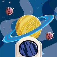 capacete espacial saturno planeta asteróides galáxia sistema solar vetor
