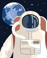 astronauta personagem universo de exploração espacial vetor