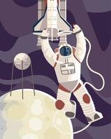 astronauta em traje espacial satélite e ônibus espacial no espaço lunar vetor