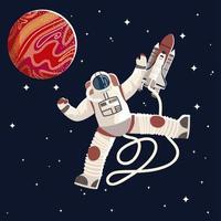 astronauta de terno e capacete uniforme exploração espacial vetor