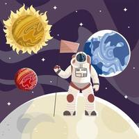 astronauta com bandeira do universo de exploração do espaço vetor