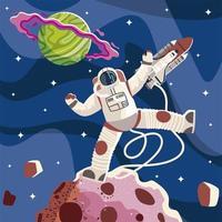 astronauta espacial nave espacial planeta e exploração de asteróides vetor