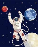 astronauta espaço lua terra planeta explorar universo galáxia vetor