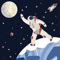 personagem cosmonauta em traje espacial e capacete vetor