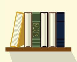 ler livros de literatura acadêmica na prateleira vetor