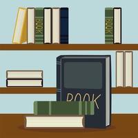 ler livros, educação, literatura, livrarias, prateleiras vetor