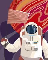 astronauta espacial com bandeira do planeta explorar o universo vetor