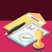 envelope fiscal isométrico vetor