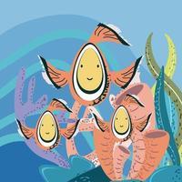 mundo subaquático palhaço peixes algas marinhas recife marinho vetor
