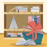 estante de livros de presente vetor
