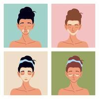 mulheres auto-cuidados com a pele vetor