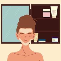 máscara de mulher cuidados com a pele vetor
