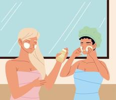 cuidados de pele de rotina para mulheres vetor