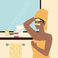 tratamento facial feminino vetor