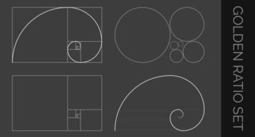 círculos de proporção dourada de fibonacci e modelo em espiral vetor