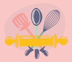desenho de utensílios de cozinha vetor