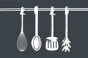 cozinhar talheres pendurados vetor