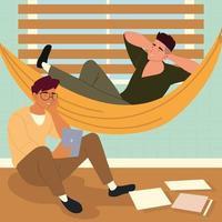 procrastinação pessoas descansando vetor