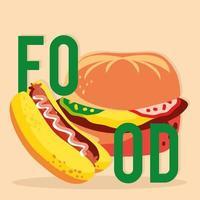 comida hambúrguer de cachorro-quente vetor