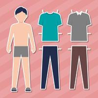 Cartoon Guy Doll With Clothes For Changes Ilustração vetor