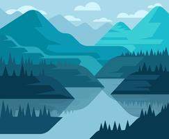 Ilustração de primeira pessoa de paisagem de montanha vetor