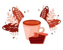 xícara de café com bolo de chocolate nas folhas fundo dia do café vetor